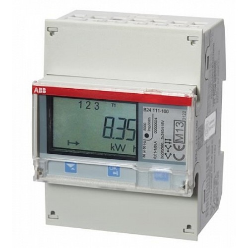 ABB Счетчик 3-фазный активной энергии,1-тарифный,кл. точности 1,трансф. вкл. 1(6)А, имп. выход,RS485,тип A44 112-200