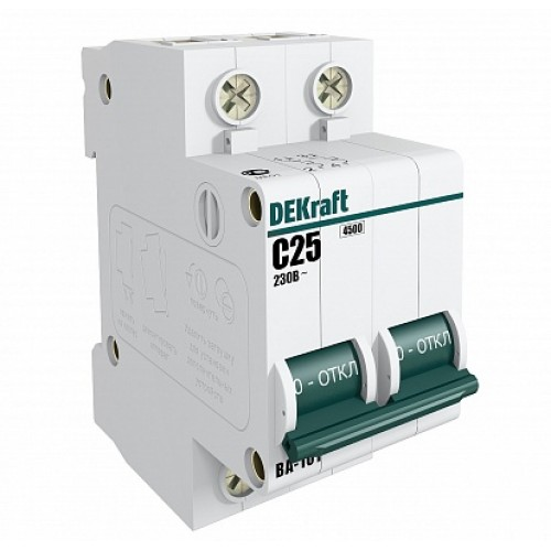 DEKraft ВА-101 Автоматический выключатель 2Р 25А (D) 4,5кА
