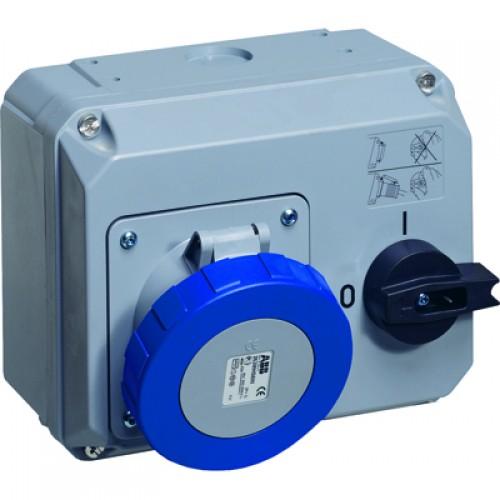 ABB MHS Розетка с выключателем и механической блокировкой 263MHS6W, 63A, 2P+E, IP67, 6ч