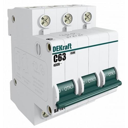 DEKraft ВА-101 Автоматический выключатель 3Р 63А (B) 4,5кА