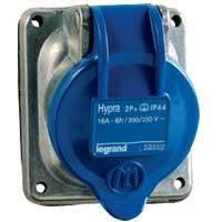 Legrand Hypra Встраиваемая розетка IP 44 3К+Н+З 16 А металл