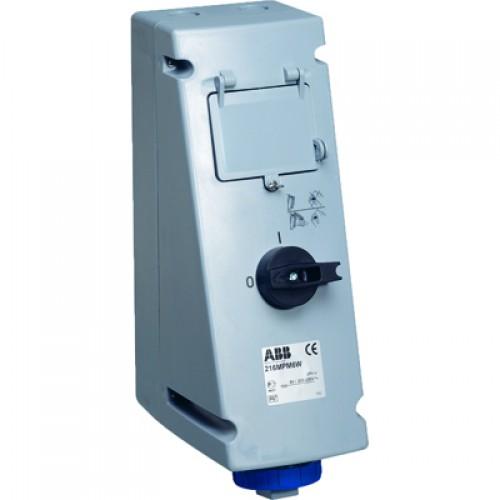 ABB MP Розетка с рубильником, механической блокировкой и Din рейкой на 4 модуля 232MP6WP, 32A, 2P+E, IP67, 6ч