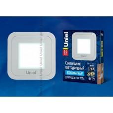 Uniel Светильник LED встраиваемый квадрат 0,5W 4500K 12V IP67 нерж. cталь cеребро