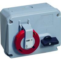 ABB MHS Розетка с выключателем и механической блокировкой 332MHS3W, 32A, 3P+E, IP67, 3ч