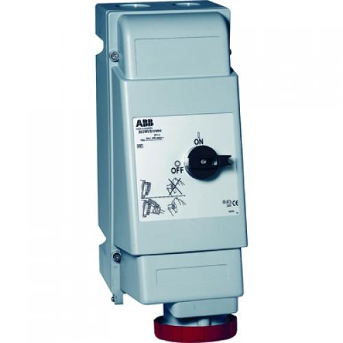 ABB MVS Розетка для тяжелых условий с выключателем и механической блокировкой 263MVS6WH, 63A, 2P+E, IP67, 6ч
