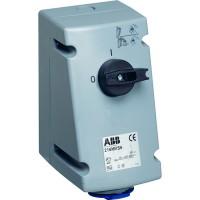 ABB MVS Розетка с выключателем и механической блокировкой 232MVS6, 32A, 2P+E, IP44, 6ч
