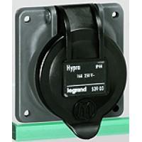 Legrand Hypra Пластик Розетка встраиваемая  IP44  2К+З  бытовая 250В 16А