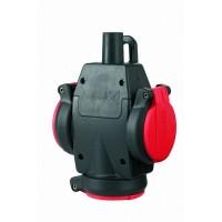ABL Тройник резиновый с крышкой и индикатором напряжения, IP54, 16A, 2P+E, 250V, (красный/черный)