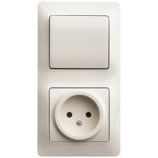 SE Glossa Беж Блок: розетка и 1-кл. выключатель