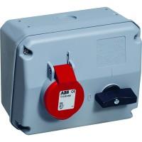 ABB MHS Розетка с выключателем и механической блокировкой 332MHS6, 32A, 3P+E, IP44, 6ч
