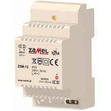 Zamel Блок питания стабилизированный 230VAC/12VDC 250мА IP20 на DIN рейку 3мод