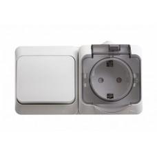 SE Этюд наруж Бел Блок: Розетка с/з со шторками + выключатель 1-клавишный IP44