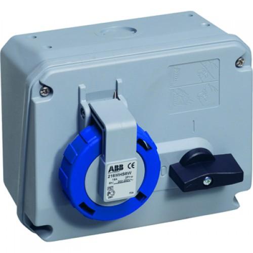 ABB CEWE Розетка на поверхность c выключателем и блокировкой 16A, 2P+E, IP67