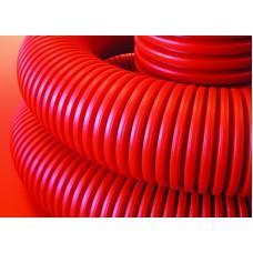 DKC Труба гибкая двустенная для кабельной канализации с протяжкой D=63мм (100м), красная