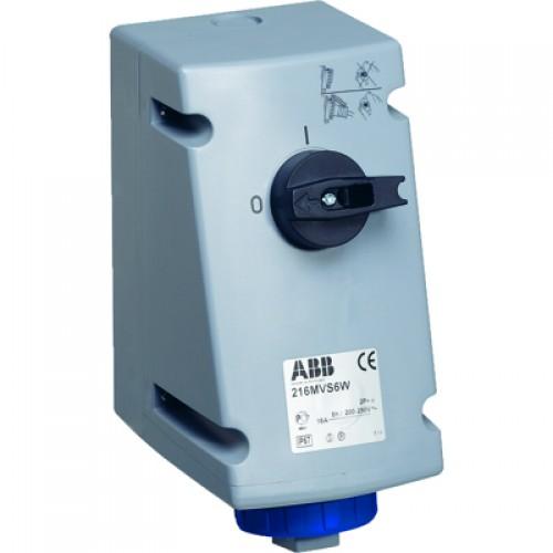 ABB Розетка с выключателем и механической блокировкой 216MVS6W, 16A, 2P+E, IP67, 6ч