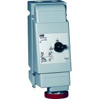 ABB MVS Розетка для тяжелых условий с выключателем и механической блокировкой 363MVS6WH, 63A, 3P+E, IP67, 6ч