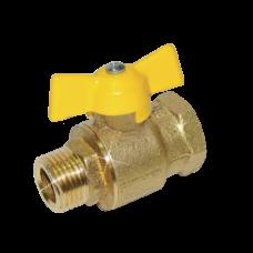 Кран шаровой латунь газ 11б27п6 желтый ВР/НР бабочка Цветлит