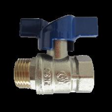 Кран шаровой латунь никелирован Solo 1803 синий ВР/НР полнопроходной бабочка STC