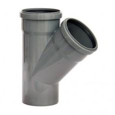 Тройник НПВХ с раструбом серый