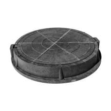 Люк полимер серый/черный (легкий) круглый Сантехкомплект