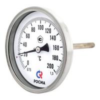 Термометр биметаллический Дк100 осевой 200C Росма
