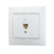 MIRA Розетка компьютерная белый с белой вставкой (10шт/120шт)